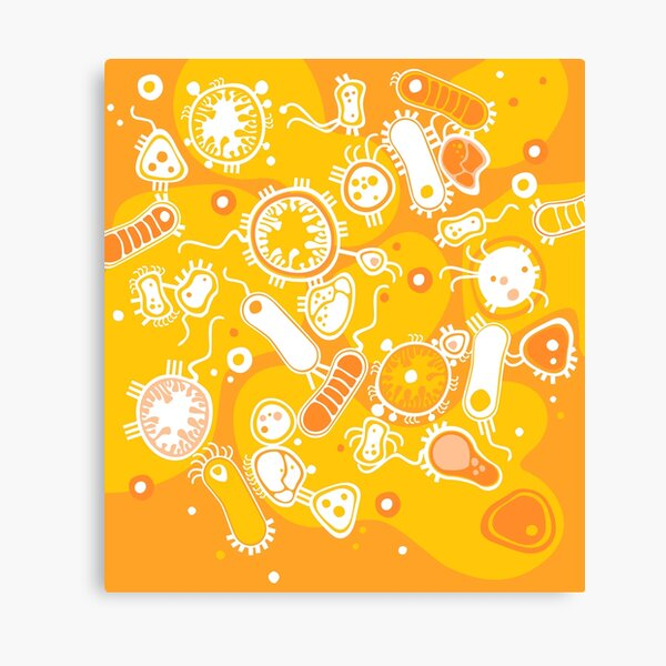 Eukaryote (white + yellow) Canvas Print
