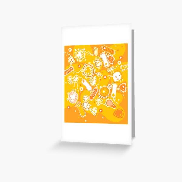 Eukaryote (white + yellow) Greeting Card