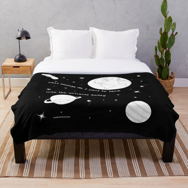 MantraMouse® Universe Message Cartoon Throw Blanket