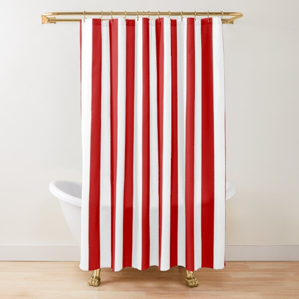 Basic Vertical Stripes - Red & White Shower Curtain
