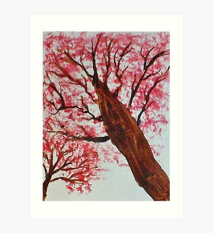 Looking Up Thru Blooming Tree, watercolor Art Print
