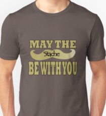 Funny black mustache may the stache be with you geek funny nerd T-Shirt
