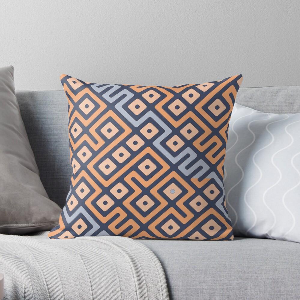 Maze Abstract Pattern - Cream / Grey Throw Pillow