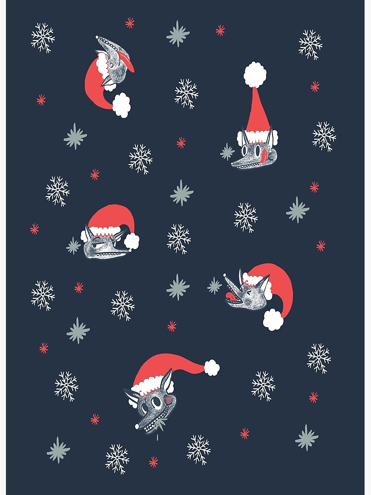 Christmas pattern with dog and snow by spoto