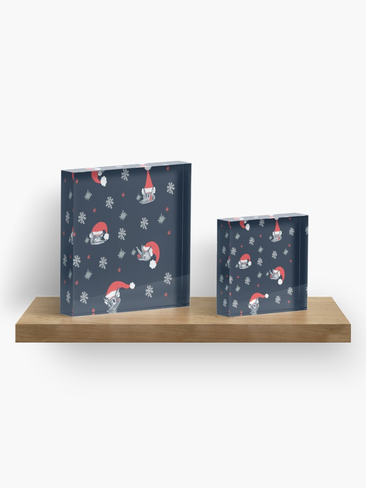Alternate view of Christmas pattern with dog and snow Acrylic Block