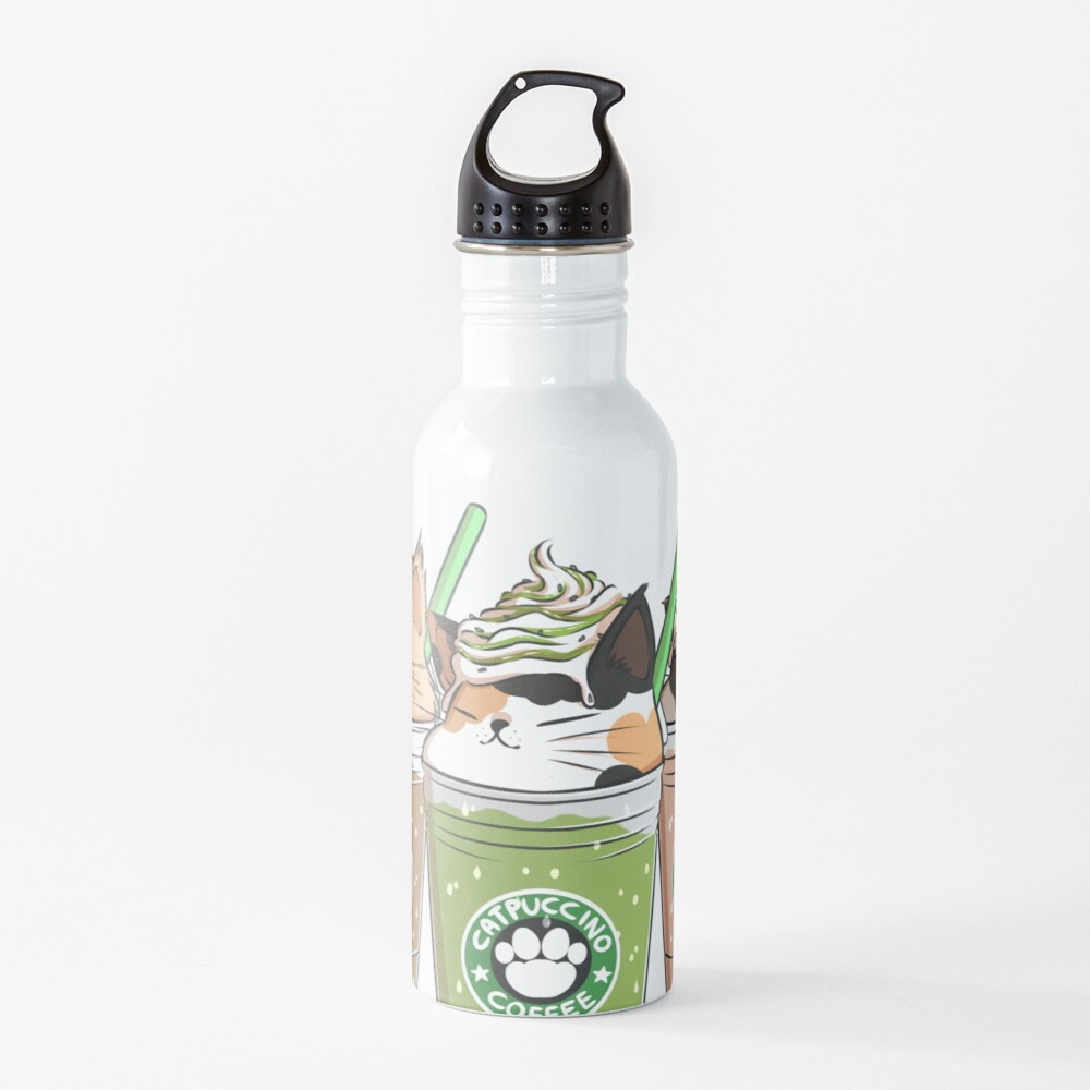 Catpuccino! For a purrfect morning! (Second Version) Water Bottle