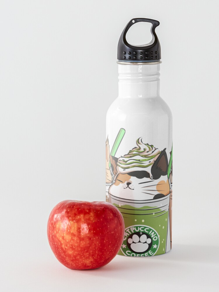 Alternate view of Catpuccino! For a purrfect morning! (Second Version) Water Bottle