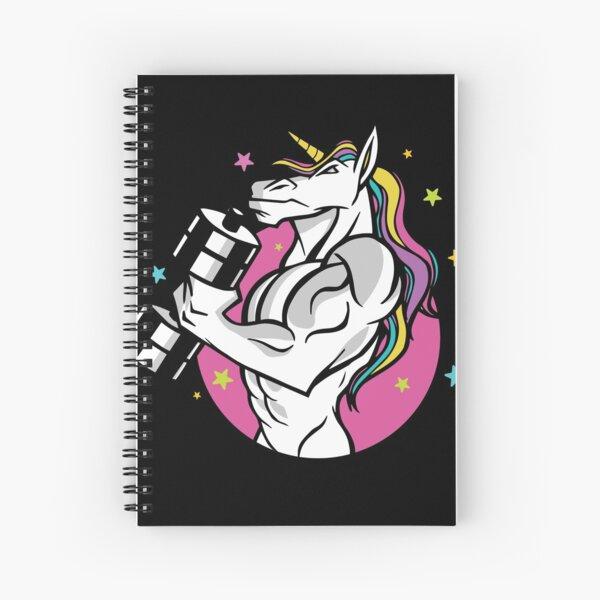 Diseño de camiseta con la silueta de un unicornio musculoso que levanta una barra colorida y encantadora para el ejercicio Gran diseño de camiseta de entrenamiento motivacional. Motivación de entrenamiento. Cuaderno de espiral