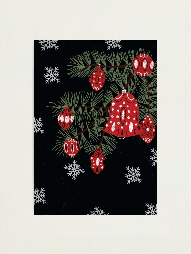 Alternate view of Christmas tree with red decoration and white snowflakes Photographic Print