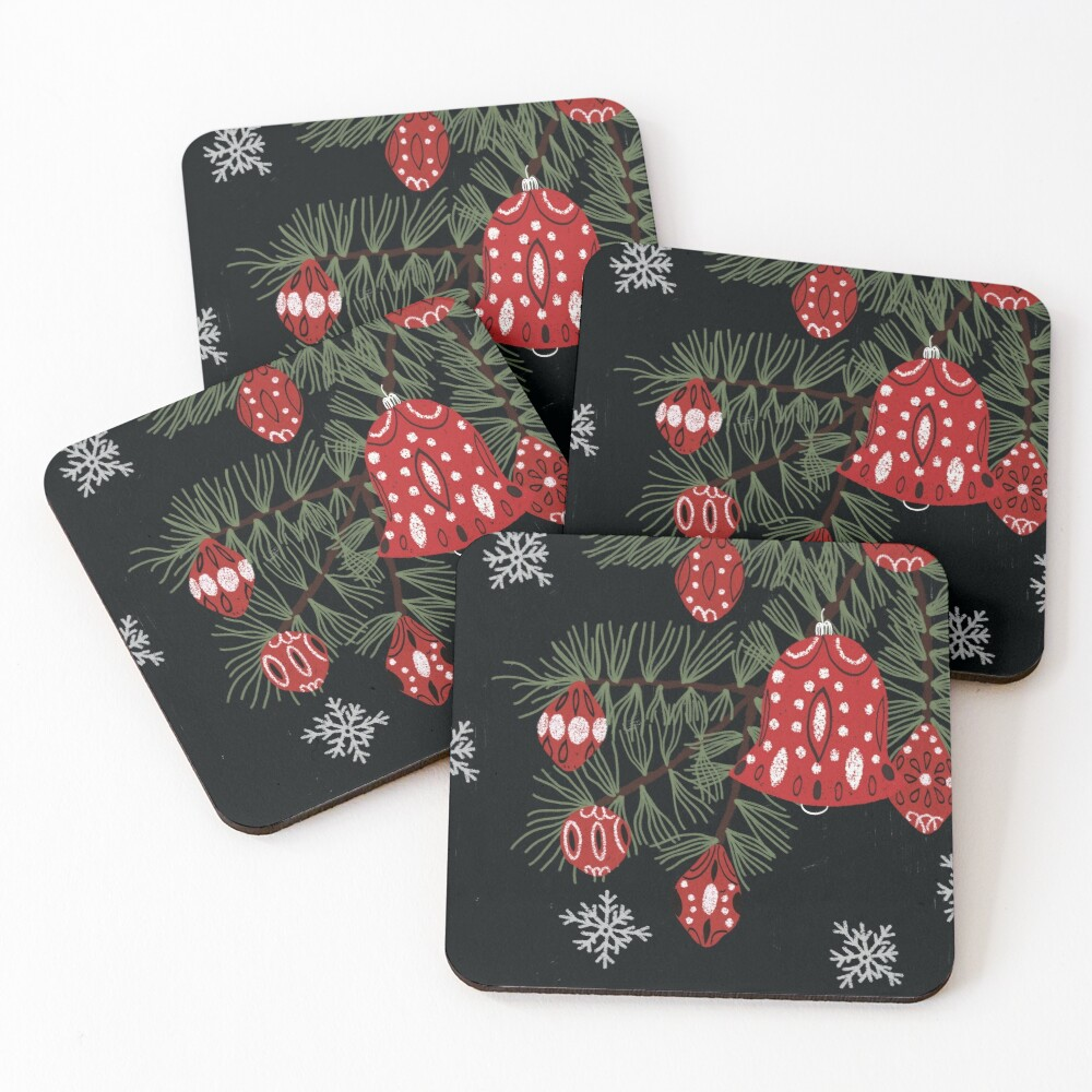Christmas tree with red decoration and white snowflakes Coasters (Set of 4)