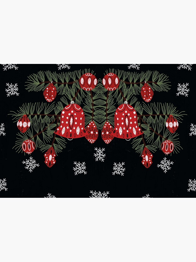 Christmas tree with red decoration and white snowflakes by spoto