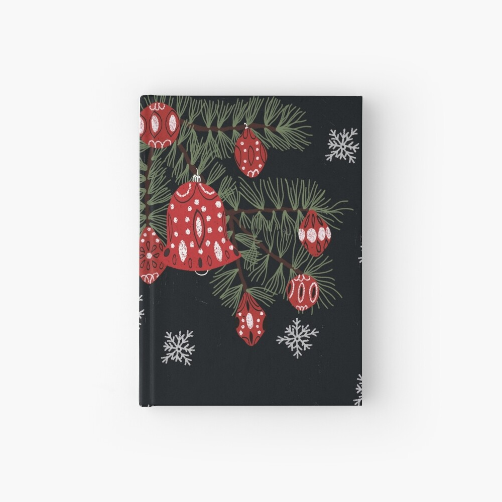 Christmas tree with red decoration and white snowflakes Hardcover Journal