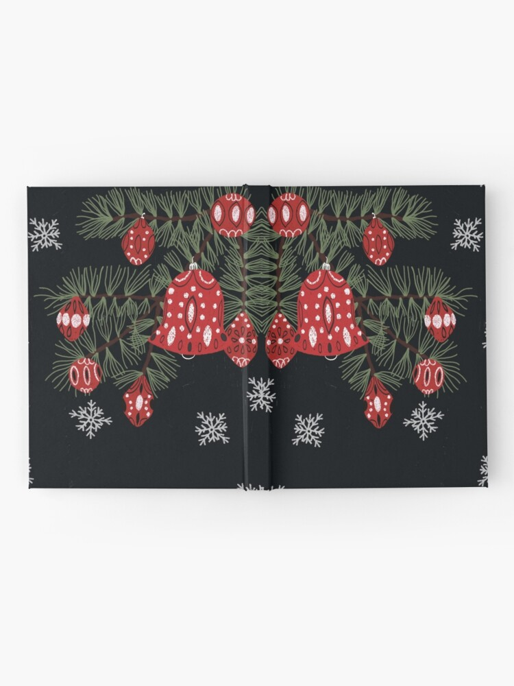 Alternate view of Christmas tree with red decoration and white snowflakes Hardcover Journal