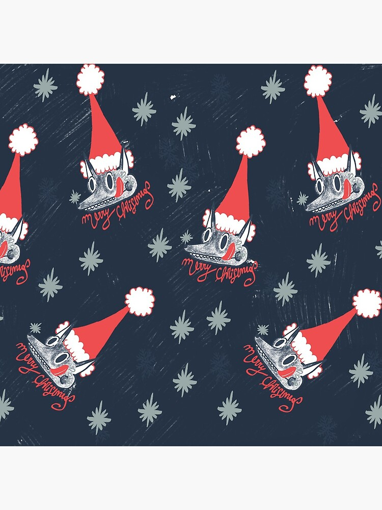 Christmas pattern with dogs eating snow  by spoto