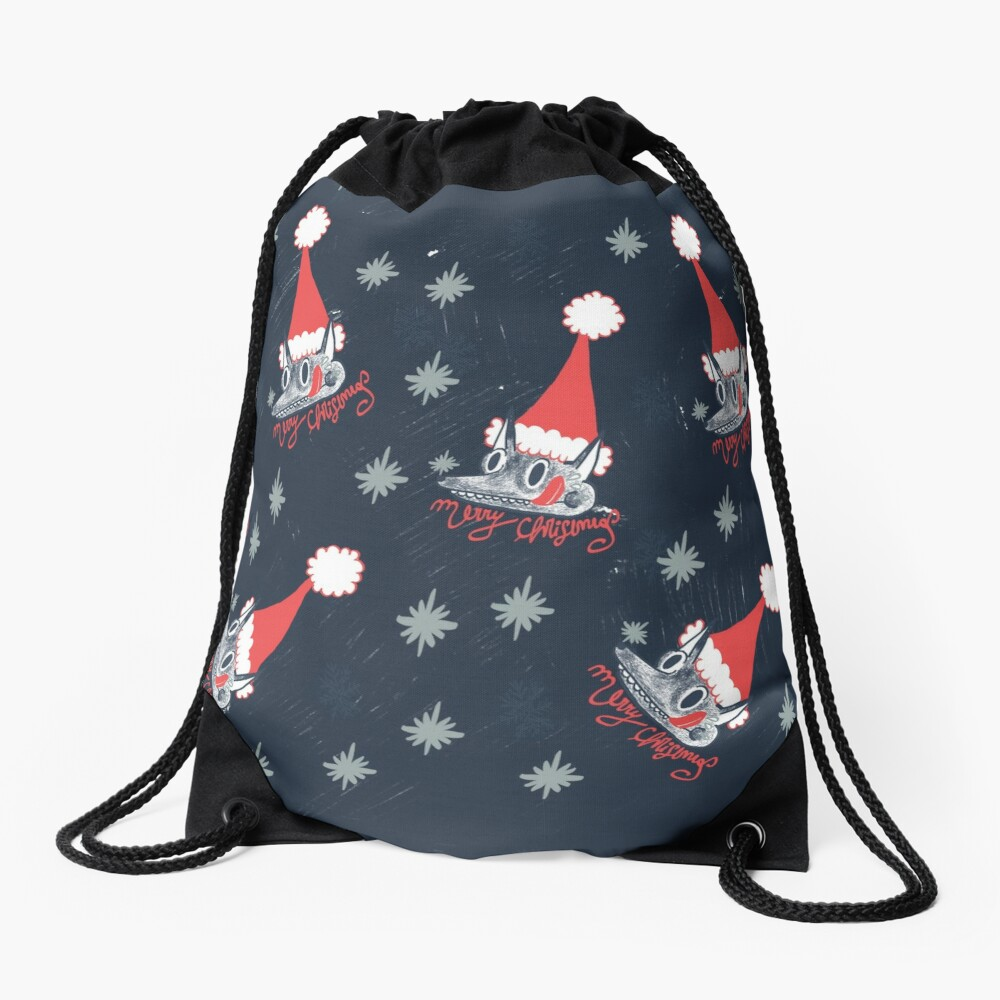 Christmas pattern with dogs eating snow  Drawstring Bag