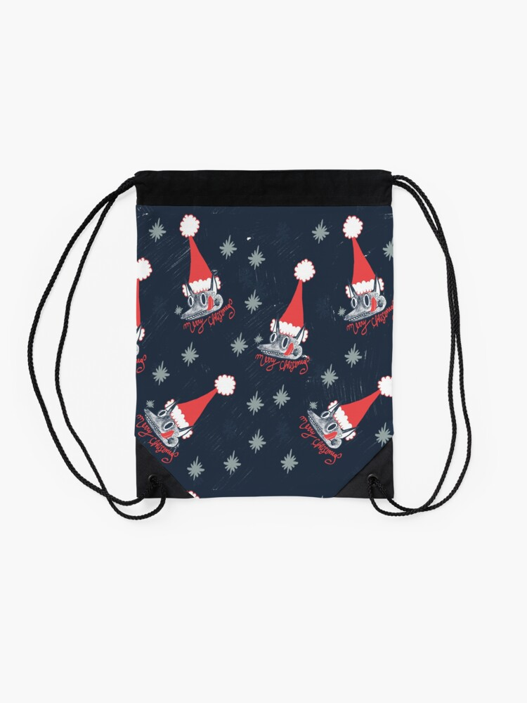 Alternate view of Christmas pattern with dogs eating snow  Drawstring Bag