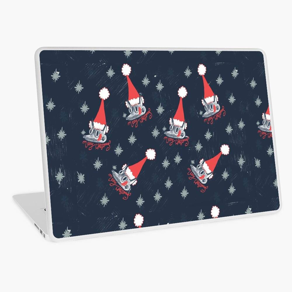 Christmas pattern with dogs eating snow  Laptop Skin