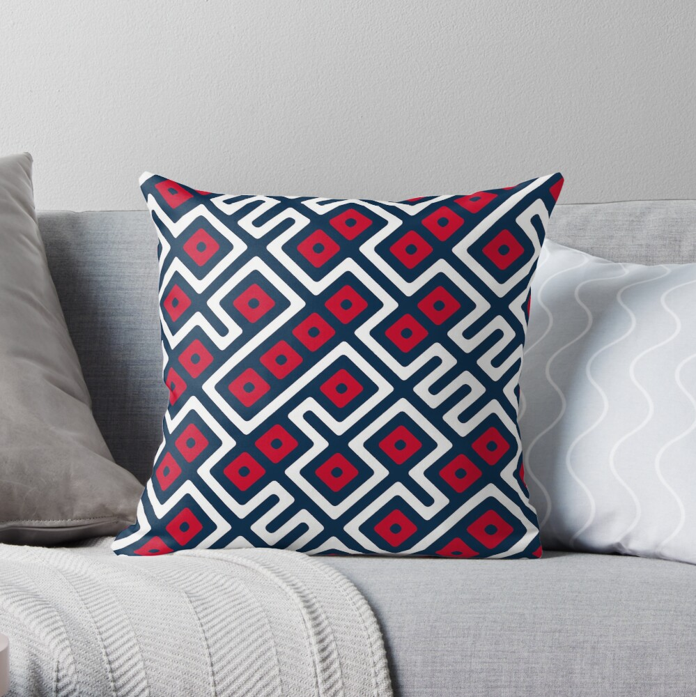 Maze Abstract Pattern - Blue / Red Throw Pillow