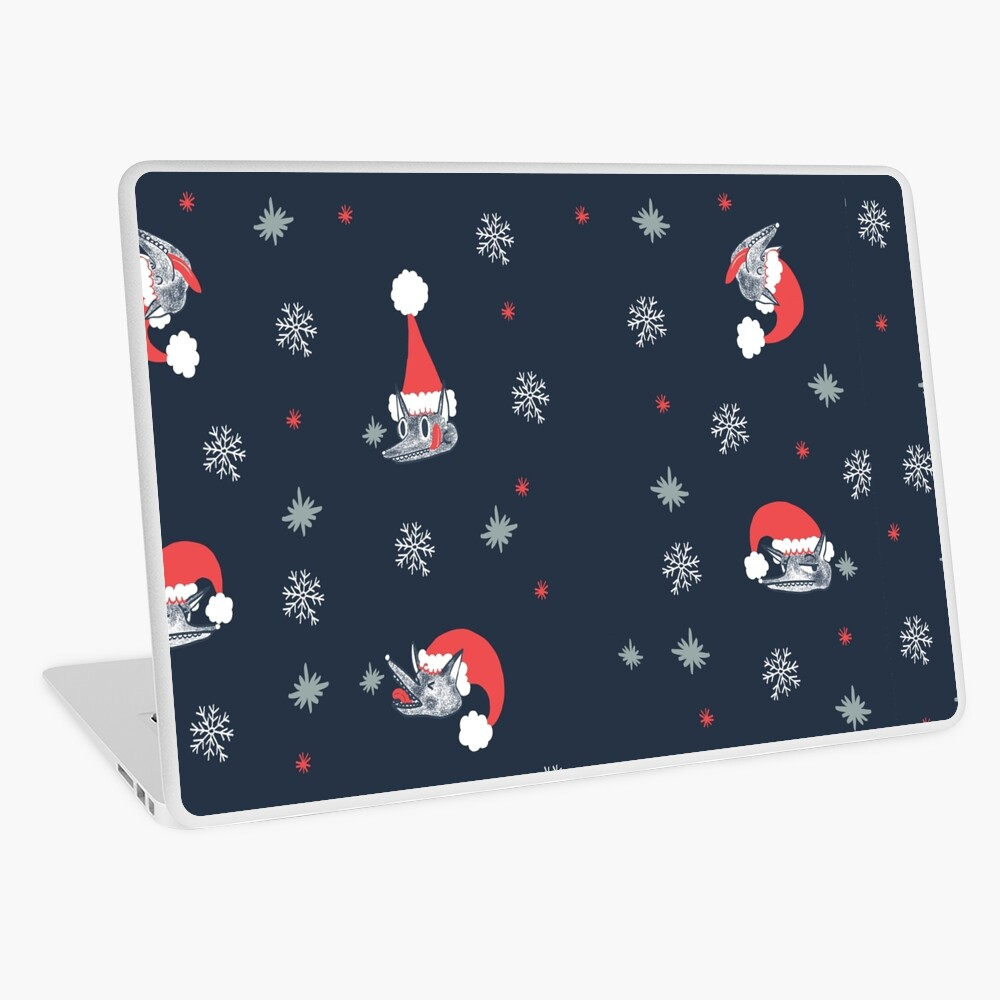 Christmas pattern with dog and snow Laptop Skin