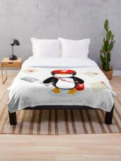 Penguin Postmaster Japan Throw Blanket