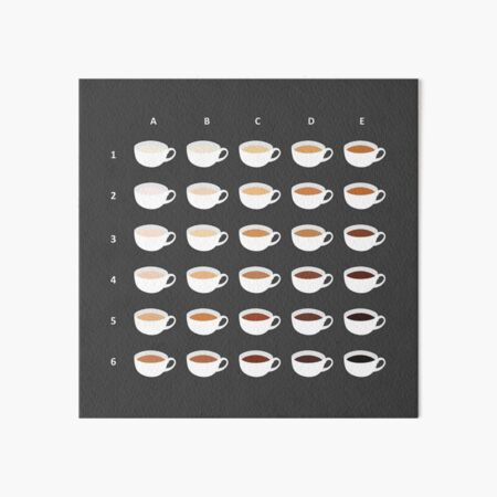 Tea Chart: 30 Shades of Tea Art Board Print