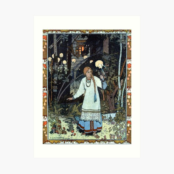 Vasilisa the Beautiful at the Hut of Baba Yaga - Ivan Bilibin Art Print