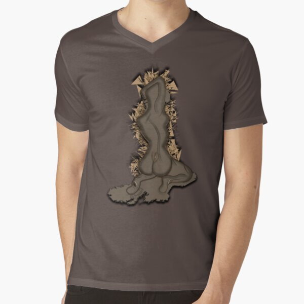 Abstract Nude V-Neck T-Shirt