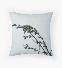 Pussy Willow Catkins Throw Pillow