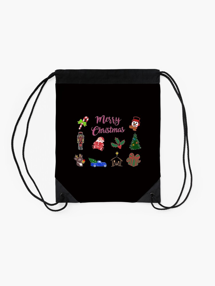 Alternate view of Christmas Clothing and Apparel, Holiday Scene.  Drawstring Bag
