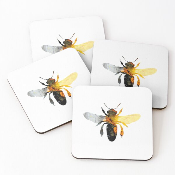 Honey Bee Alcohol Ink Illustration Coasters (Set of 4)