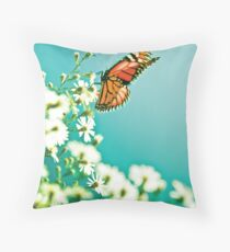 Butterfly and flowers - Nature Throw Pillow