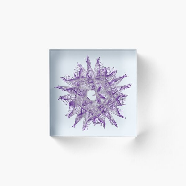 Abstract Violet Spiral Lines Acrylic Block
