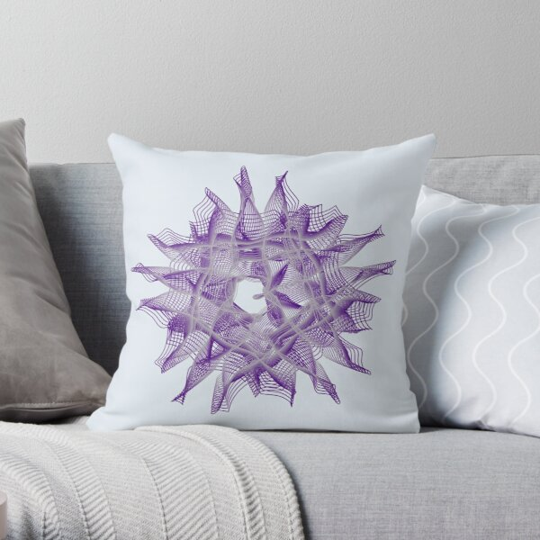 Abstract Violet Spiral Lines Throw Pillow