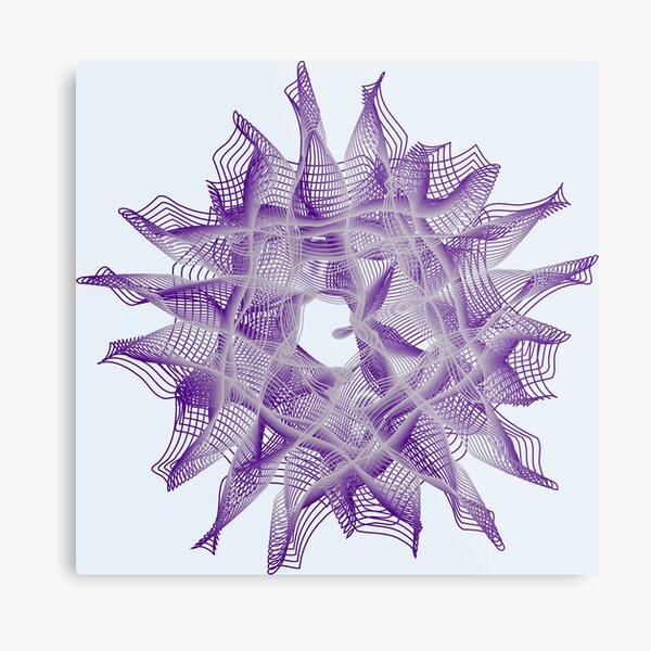 Abstract Violet Spiral Lines Metal Print