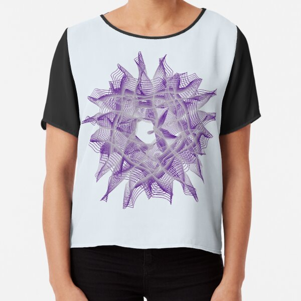 Abstract Violet Spiral Lines Chiffon Top