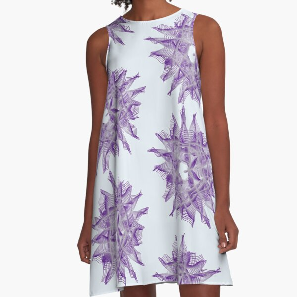 Abstract Violet Spiral Lines A-Line Dress
