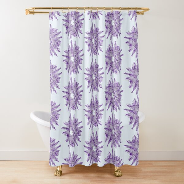 Abstract Violet Spiral Lines Shower Curtain