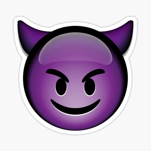 Cute Smiling Purple Devil Emoji Pegatina