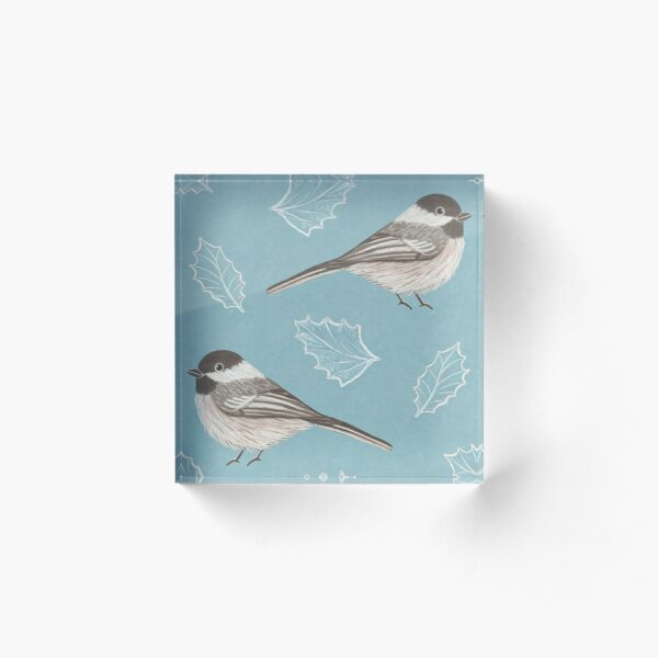 Chickadees and Frosted Leaves Acrylic Block