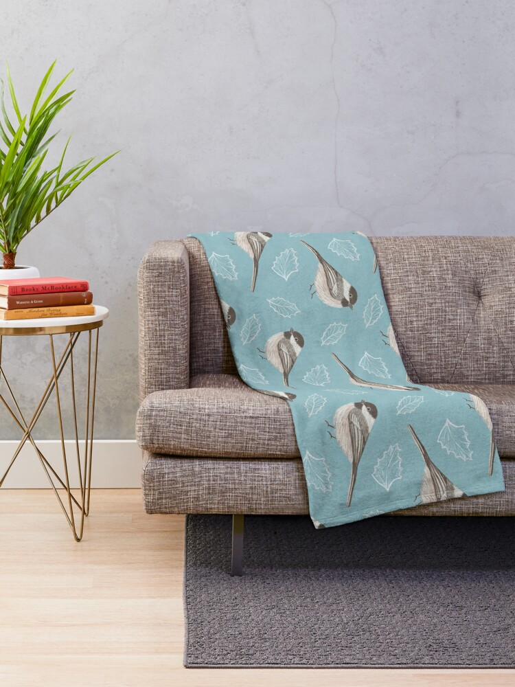 Alternate view of Chickadees and Frosted Leaves Throw Blanket