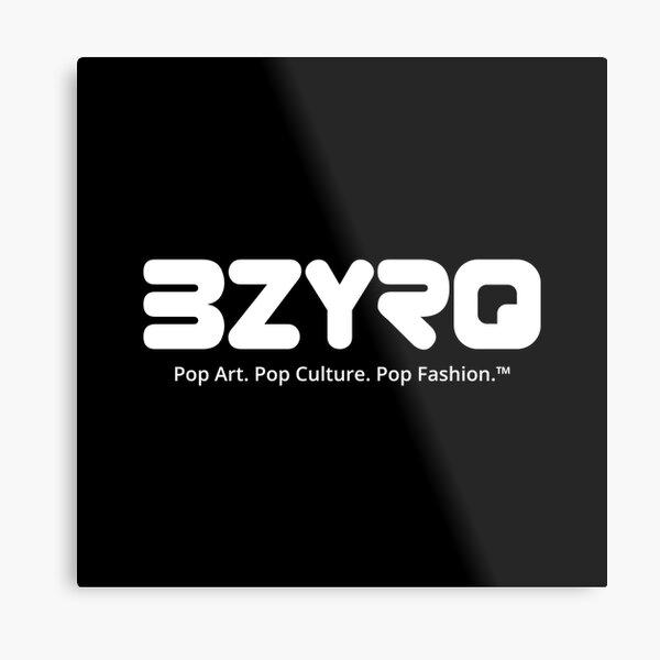BZYRQ Logo (White on Black) Metal Print