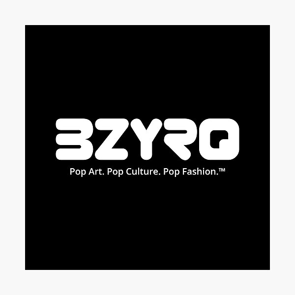 BZYRQ Logo (White on Black) Photographic Print