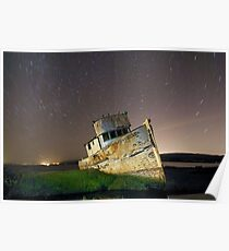 Star trails over Point Reyes reck Poster