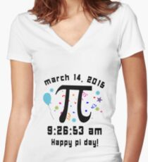 Happy pi day pi day 2015 3 14 15 9 26 53 geek funny nerd Women's Fitted V-Neck T-Shirt