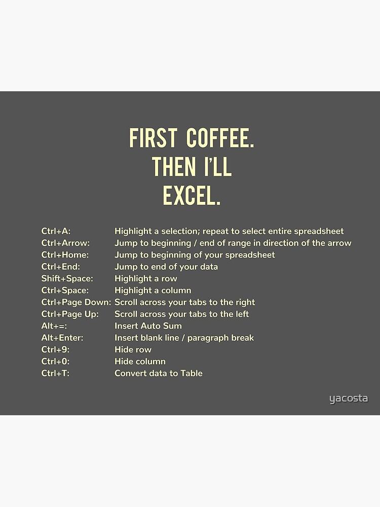 First Coffee. Then I'll Excel (+ Keyboard Shortcut Cheat Sheet) Travel Mug by yacosta