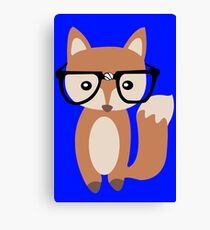 Hipster baby fox w glasses geek funny nerd Canvas Print