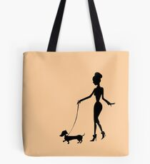 Flaunting The Pooch (peach) - Dachshund Sausage Dog Tote Bag
