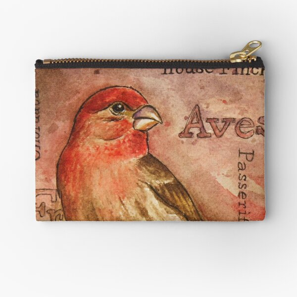 House Finch Watercolor Painting Zipper Pouch