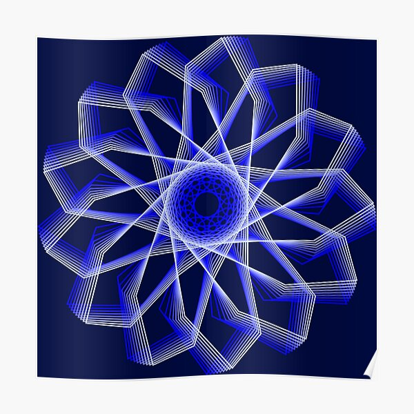 Blue Lines Abstract Geometric Flower Poster