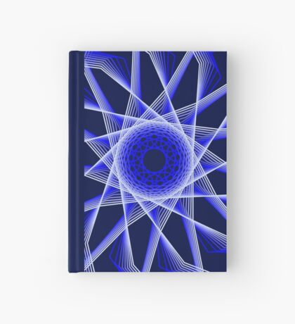 Blue Lines Abstract Geometric Flower Hardcover Journal